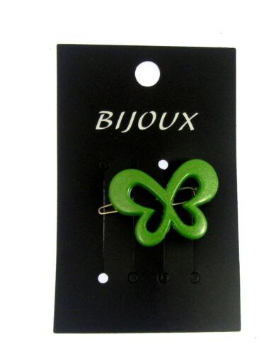 Green open butterfly hair clip B