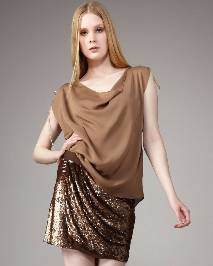 New HAUTE HIPPIE copper brown Silk SEQUIN FAUX WRAP MINI SKIRT M