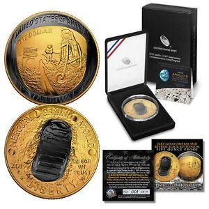 INDIAN HEAD SKULL 1 oz Copper Medallion BLACK RUTHENIUM w// 24K Gold Gilded SKULL