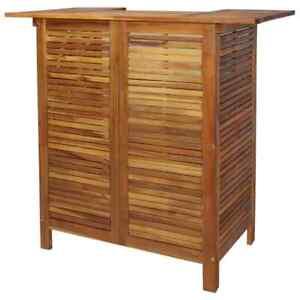 Détails sur vidaXL Table de Bar Bois d\'Acacia Massif Haute Table Bistrot  Mobilier Jardin