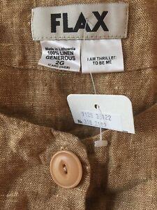 22-24 FLAX 100/% Linen Women/'s Short Sleeve Shirts in a 2G//2XL