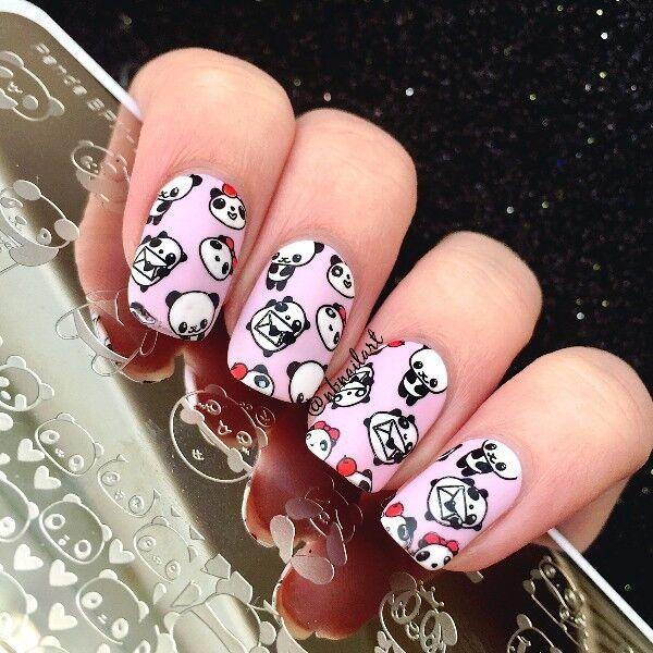 Born Pretty Nail Art Stamp Image Plate Cute Panda Design Manicure