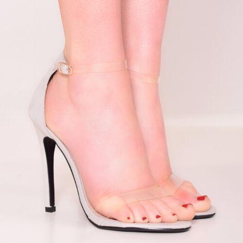 Femme Clair Bride Cheville Talon Haut Mode FETE Loisirs Chaussures Taille 3-8