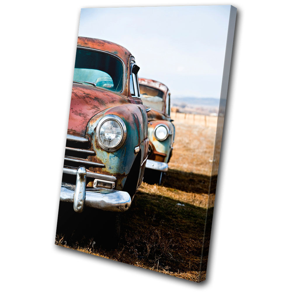 Canvas Art Picture Old Print Photo Automobile Old Picture Cars Urban Rustic Vintage 26597e