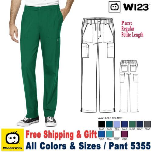 WonderWink Scrub W123 Men/'s Modern Fit Flat Front Cargo Pant 5355 Regular Petite
