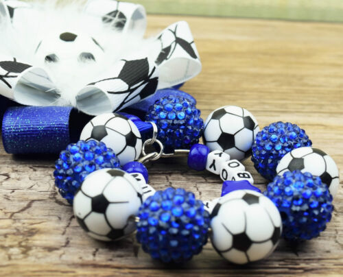 Personalised stunning pram charm in football beads baby girls boys ideal royal