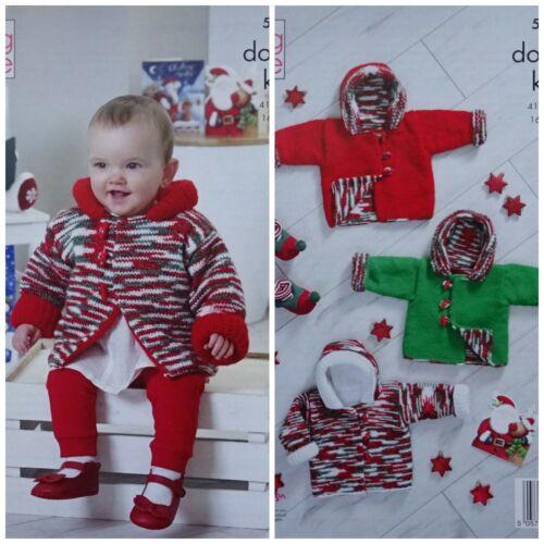 KNITTING PATTERN Baby Christmas Reversable Hooded Duffle Jackets Glitz DK 5352