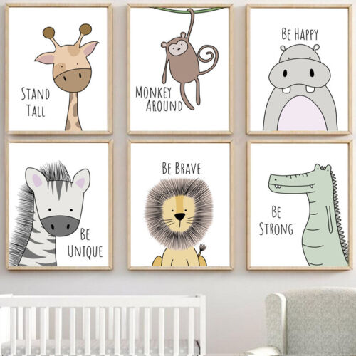 NEW Animal Kawaii Poster Baby Room Art Canvas Paint Hanging Wall Nursery Decor
