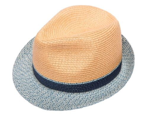 Straw Trilby With Contrasting Trim Packable //Crushable
