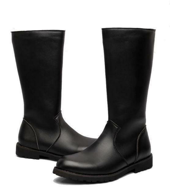 Fashion Mens  Riding Boots Military Boots PU Leather Knee High Equestrian Boots