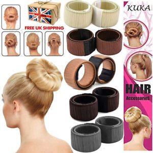 Hair-Bun-Maker-Donut-Styling-Bands-Former-Foam-French-Twist-Snap-DIY-Tool-Blonde