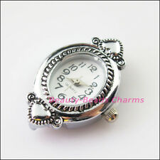 1Pc Tibetan Silver Plated Copper Oval Pocket Watch Face Charms 22.5x31mm