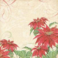 Christmas Scrapbook Paper 12 Vintage Poinsettia Swirl Shiny Emboss Victorian 6
