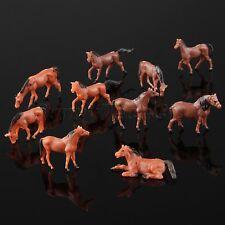 10pcs Colored Painted Model Cute Horse Farm Animals Miniatures Toys Scale 1:87