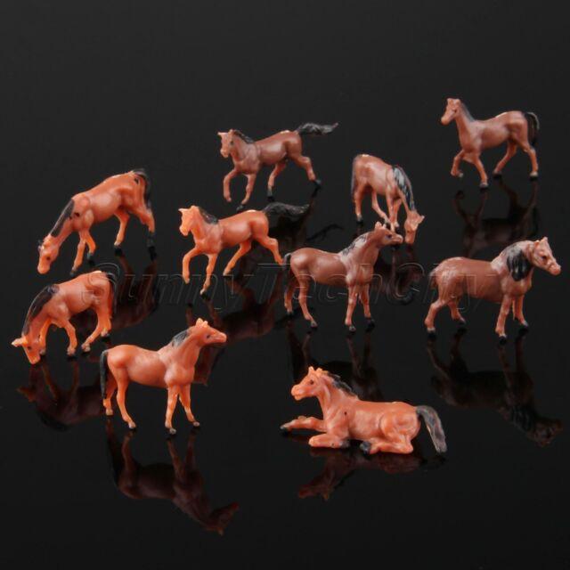 10pcs Colored Painted Model Cute Horse Farm Animals Miniatures Toys Scale 1 87