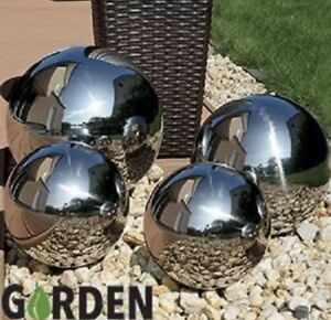 Image Is Loading Set Of 4 Silver Mirror Garden Spheres Stainless