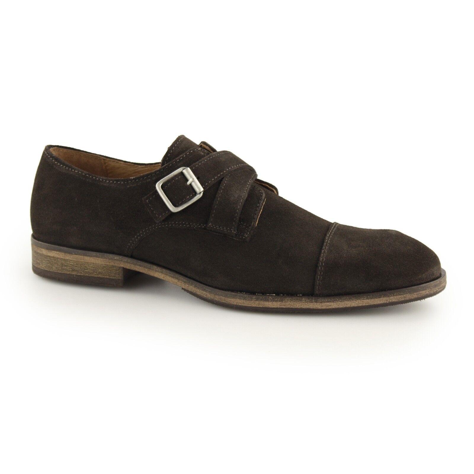 Selected BOLTON Mens Suede Toecap Formal Evening Smart Monkstrap shoes Brown