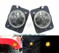 Smoked Amber Parking Side Marker LED Lights Front Fender For Jeep Wrangler 07-15