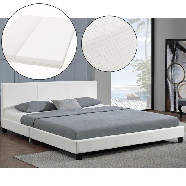 Polsterbett Doppelbett Kunstlederbett Bettgestell mit Matratze 160x200 ArtLife®