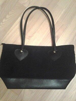Damentasche / Tasche in schwarz, Filz & Leder- Look, A4- Format, NEU