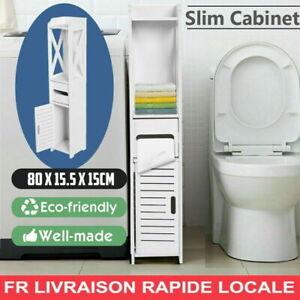 Meuble Colonne de Salle de Bain Armoire Haute Meuble rangement - 80cm -  Blanc