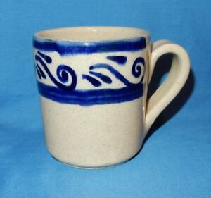 3d3ac6b9581 Details about Handthrown Pottery Stoneware Cobalt Blue White Coffee Tea Cup  Mug signed Mexico?