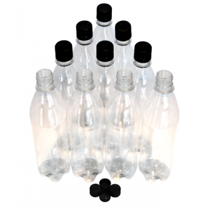 Details about 500ml Clear Plastic PET Screw Cap Drinks Bottles Home Brew  Beer Cordial 40 Pack