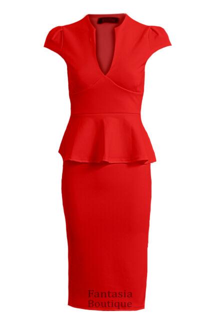 New Ladies Cap Sleeve V Neck Peplum Skirt Knee Length Women's Dress