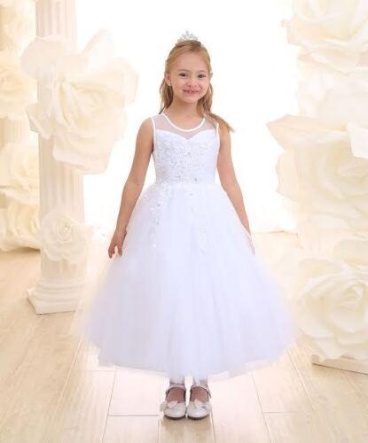 New First Communion Flower Girl Wedding Pageant Dress 2 4 6 8 10 12 14 16 WHITE