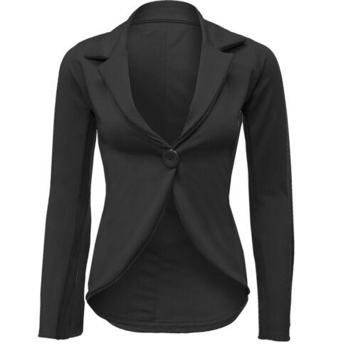 Womens Ladies Blazer Collared One Button PLAIN  Suit Jacket Slim Fit Coat*slmj