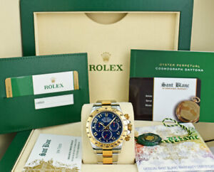 ROLEX-UNWORN-18kt-Gold-amp-Stainless-DAYTONA-Blue-Index-CARD-116523-SANT-BLANC