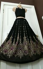 Ladies Indian Boho Hippie Gypsy Long Sequin Skirt Rayon Gold, Black & Pink inset