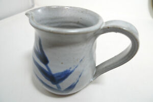 2003 Hand Crafted Painted Pitcher Signed Artist Bill Heyduck Pinched Blue Gray