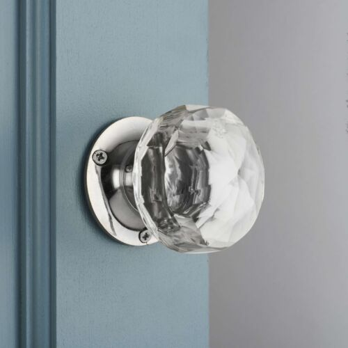 Faceted Glass Internal Turning Mortice Door Knobs Pair P100 Not