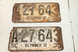1935-SOUTH-CAROLINA-SC-LICENSE-PLATE-SET-OF-2-TAG-RARE-OLD-SIGN-Rat-Rod