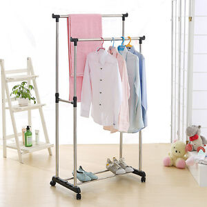 Rolling Clothes Rack Single/Double Rail Hanging Garment Bar Display Adjustable