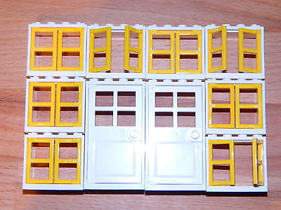 2x4x3 white yellow BRAND NEW LEGO windows and doors for house pack of 5