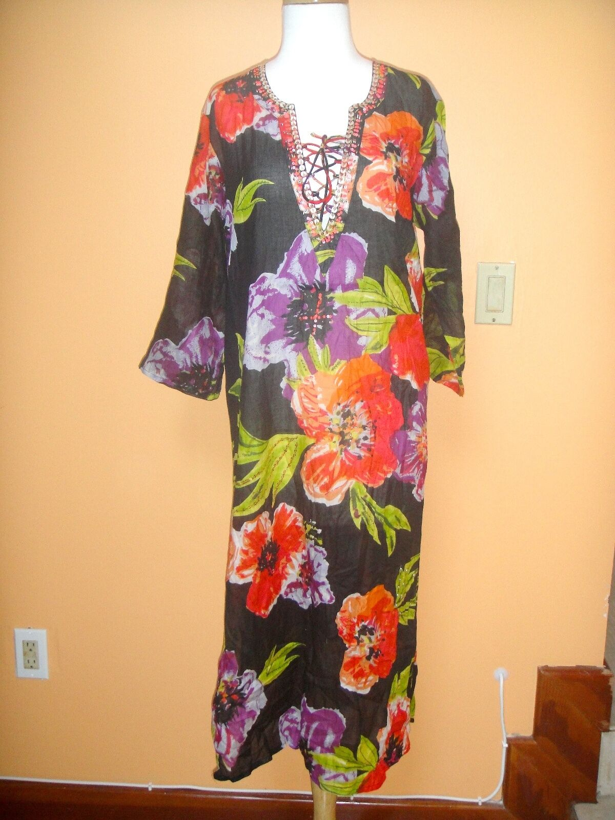 NWT CZ FLORAL EMBELLSIHED CAFTAN COVER UP DRESS L LARGE   SFS