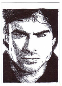 Aceo sketch card ian somerhalder as damon salvatore from - Vampire diaries dessin ...