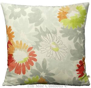 Jane-Churchill-Vintage-Daisy-Rojo-Verde-Floral-Funda-De-Almohada-Cojin-de-color-gris