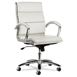 Image Is Loading White Leather Computer Office Desk Chair With Padded
