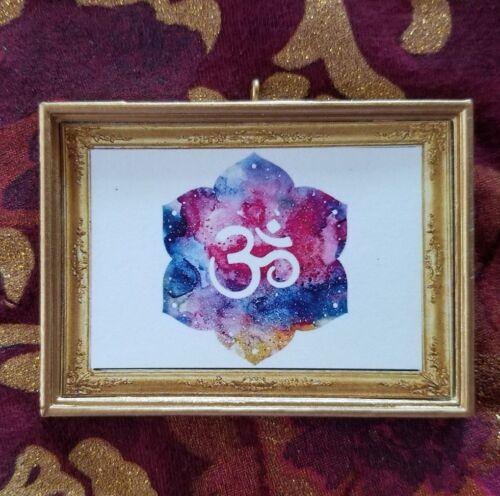 Ohm Art Yoga Fan Handmade Christmas Ornament//Magnet//Dollhouse miniature