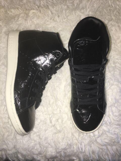 Adidas Originals Stan Smith Womens Core Black Off White Mid Shoes BB0110 SZ 6