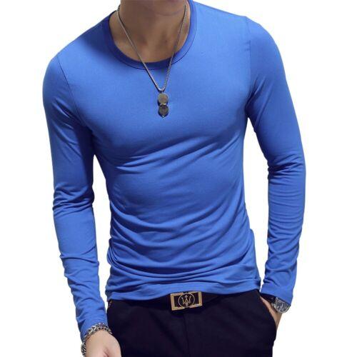Men/'s Fashion Soft Slim Fit Long Sleeve T-shirts Tee Shirt Pullover Tops M-2XL