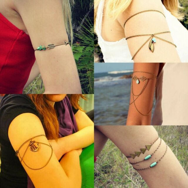 Womens Retro Fashion Tassel Chain Upper Arm Cuff Armlet Armband Bangle Bracelet