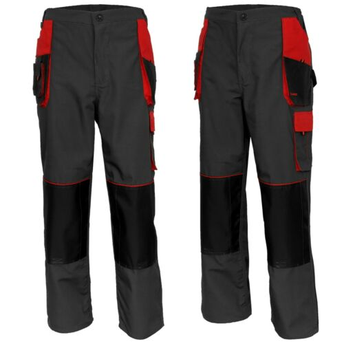 Red//Grey CLASSIC WORK TROUSERS Cargo Style Multi Heavy Dty Pants Knee Pad Pocket
