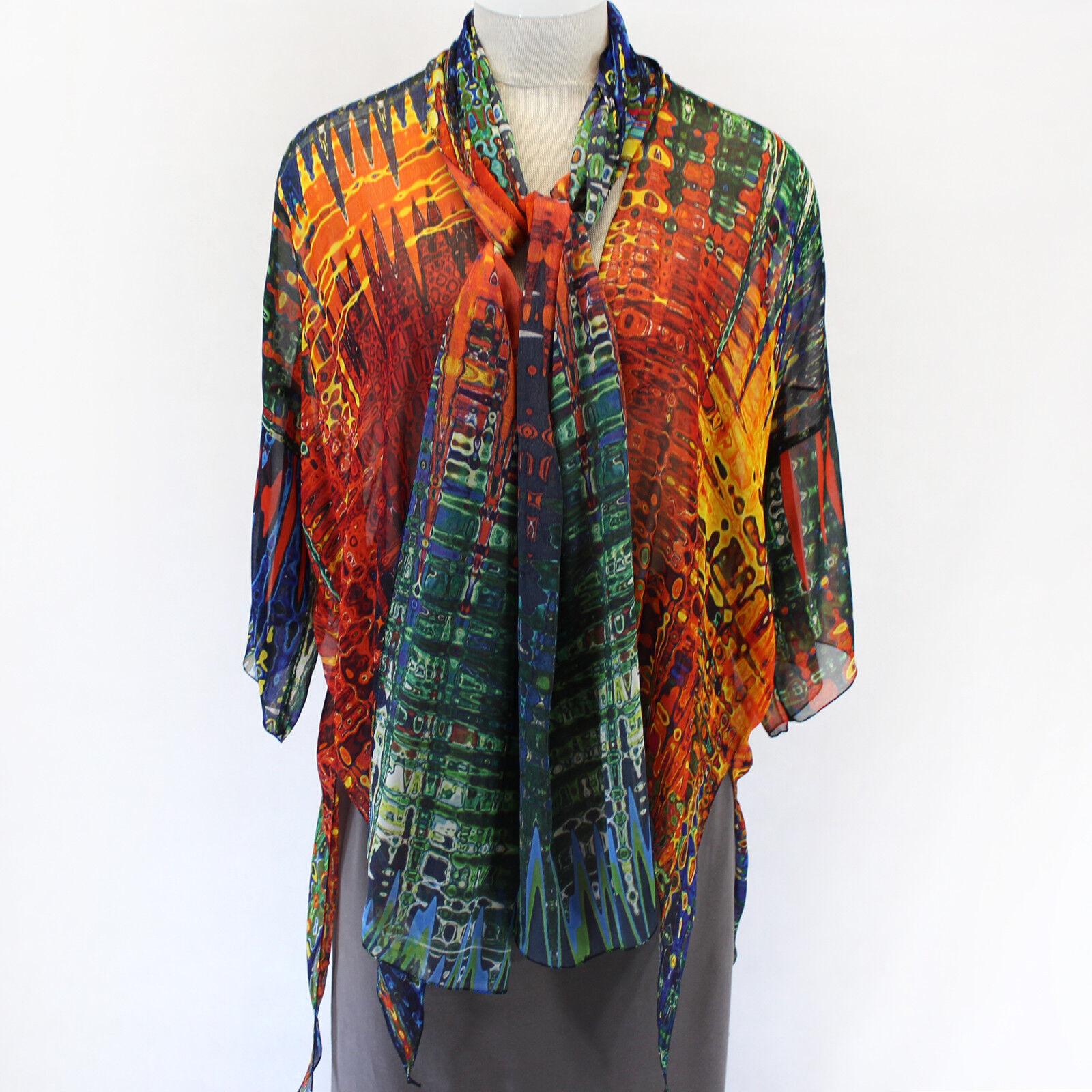 NEW Dilemma Plus Rauchenberg Inspirot 100% Silk Jacket & Scarf OS fits XL 1X 2X