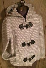 Leifsdottir 8 M Coat White Woven Wool Anthropologie Hooded Toggle $448 Winter S