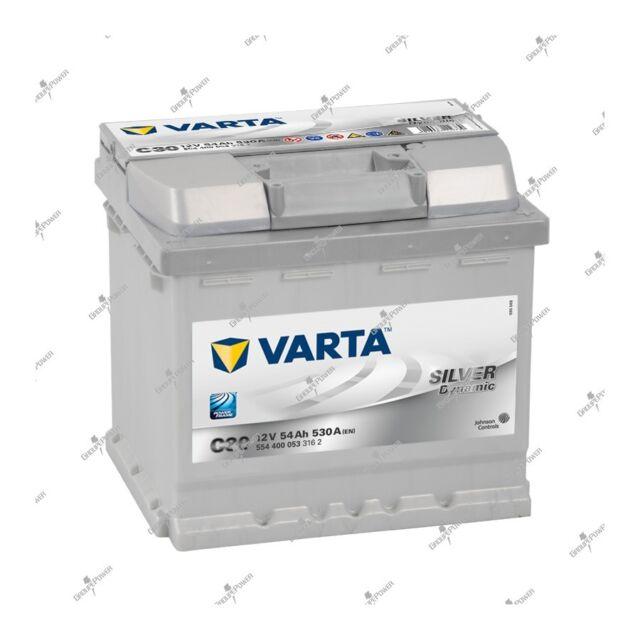 Batteria Argento Dynamic Varta C30 12V 54AH 530A 554400053 207X175X190mm