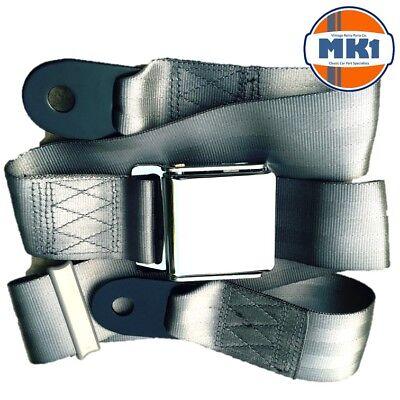 Austin Mini Classique Gris Chrome Boucle Lap ceinture 2 Réglable Avant Arrière